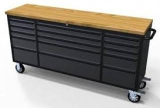 """NEW  72"""" 15 Drawer Black Stainless Steel Tool Chest HTC7215BS"""
