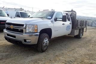 "2014 Chevrolet ""Silverado 3500 HD"" LT Crew Cab 4x4 DRW Deck Truck. Duramax Diesel Engine. Allison Automatic Transmission. Nortruck Deck w/ Removable Gates. Slip Tank w/ GPI Electric Pump. Showing 97,450kms and 5,794hrs.  VIN 1GB4K0C86EF134405."