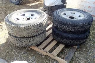 Lot of 4 LT245/75R16 Tires on Rims.