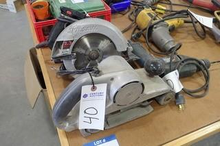 "Lot of Black & Decker Circular Saw, 3/8"" Electric Drill and 3"" Belt Sander."