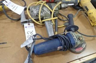 "Lot of Black & Decker 1/2"" Electric Drill and Ryobi Angle Grinder."