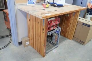 Wooden Work Bench.