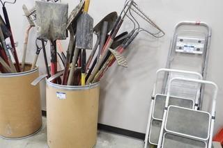 Lot of Asst. Shovels, Rakes and Picks.