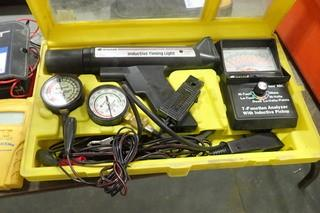Lot of Equus Inductive Timing Light, 7 Function Analyzer, Compression Tester, Fuel Pump Pressure Engine Vacuum and Motor Remote Starter.