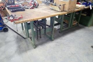 Lot of Wooden Work Bench and Wooden Work Bench w/ Ridgid Pipe Vise.