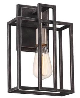 Jefferson 1-Light Armed Sconce Iron Black/Brushed Nickel Accents
