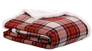 """Eddie Bauer Edgewood Plaid Flannel Sherpa Throw Blanket 50"""" X 60"""" Red"""