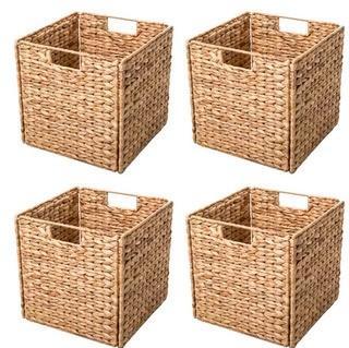 Hyacinth Foldable Storage Wicker Basket with Iron Wire Frame, Set Of 4