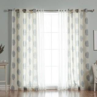 Carney Medallion Geometric Sheer Grommet Curtain Panels, Taupe, Set Of 2