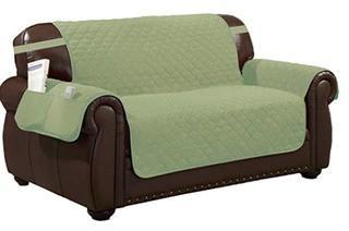 "Box Cushion Loveseat Slipcover 88x75.5"" Sage"