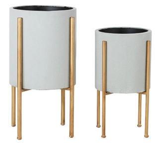 Manhasset Mid Century 2-Piece Aluminum Pot Planter Set
