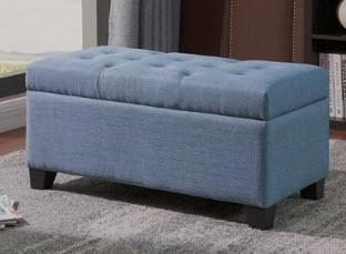 Salyers Storage Tufted Ottoman Grey Blue