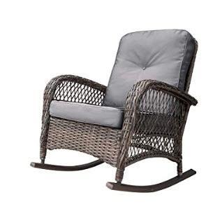 Yara Rocking Chair with Cushions, Grey
