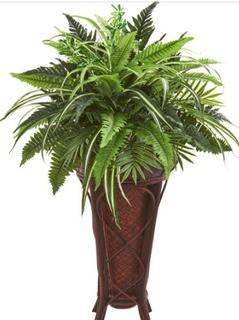 Artificial Mixed Fern 32?H In Decorative Stand