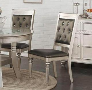 Rubber Wood Dining Chair With Diamond Tufted Back, Set Of 2,Grey