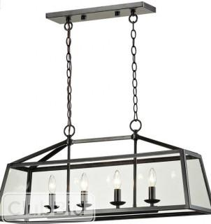 Elk Lighting 4LP-CHR 4 Light Linear Pendant Canopy - Black