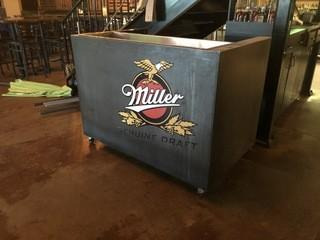 """Rolling Stand Behind Drink Cooler 56"""" x 35"""" x 43""""."""