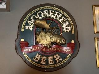 "Moose Head Wood Sign 29"" x 27""."