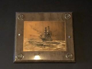 "Framed Schooner Cooper Etching 8"" x 12""."