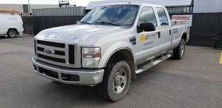 2008 Ford F350 XLT 4X4 Crewcab Pick Up C/w V8, A/T, 3-Aluminum Jockey Boxes, Showing 289,377Kms. VIN 1FTWW31588ED79509