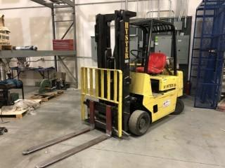 "Hyster Model S40XL Forklift C/w 4 Cyl LPG, 48"" Forks, Side Shift, 3-Stage, Canopy, Showing 8595 Hrs. SN A187V13281K *Note: Item Cannot Be Removed Until Noon August 2 Unless Mutually Agreed Upon*"