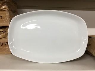 "Lot of (12) Porcelain Large Rectangular Plates 14""x 9.25"". New"