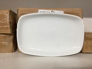 "Lot of (12) Porcelain Rectangle Plates 9.5""x 6.25"". New"