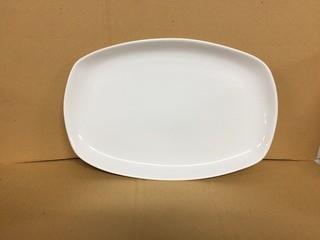 "Lot of (6) Porcelain Large Rectangular Plates 14""x 9.25"". New"